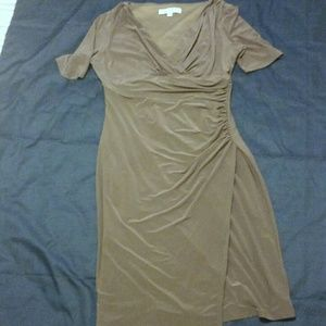 Evan Picone Gray Ruched Dress